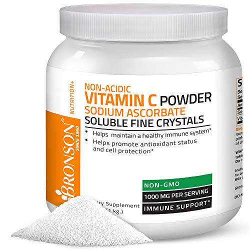 Non Acidic Vitamin C Powder Sodium Ascorbate Non GMO Soluble Fine Crystals - Healthy Immune System, Antioxidant and Cell Protection - 1 Kilogram (2.2 lbs, 35.3 Ounces) (Salt Like Crystals Coming Out Of Skin)