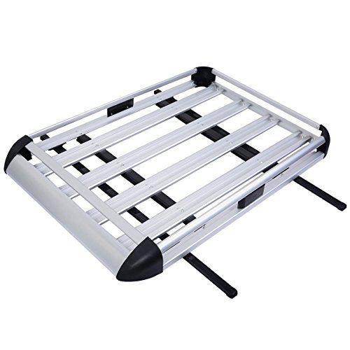 Goplus 50''x38'' Aluminum Car Roof Cargo Carrier Luggage Basket Rack Top w/Crossbars by Goplus