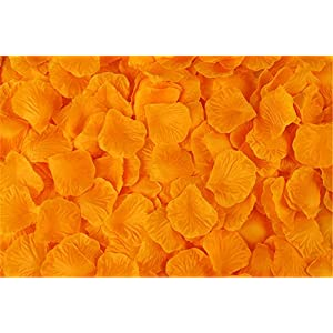 Vivianbuy 2000 PCS Artificial Silk Flower Orange Rose Petals for Wedding Party Bridal Decoration 16