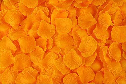 (Vivianbuy 2000 PCS Artificial Silk Flower Orange Rose Petals for Wedding Party Bridal Decoration)
