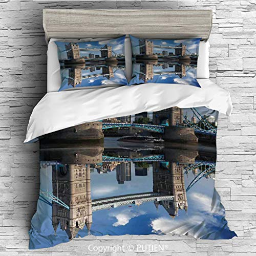 FULL Size Cute 3 Piece Duvet Cover Sets Bedding Set Collection [ London,Tower Bridge With City Cruise in Summer Day Mirroring on Tranquil Thames River,Taupe and Blue ] Comforter Cover Set for Kids Gir
