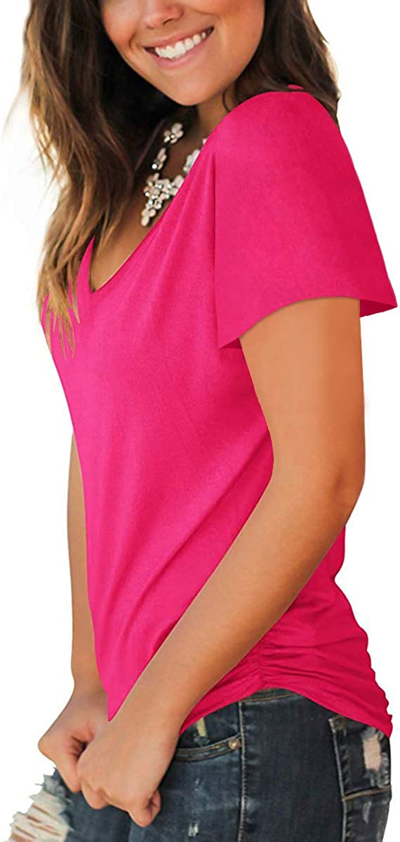 Jescakoo Summer Short Sleeve T Shirts for Women Deep V Neck Tops