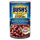 BUSH'S BEST Dark Red Kidney Beans, 16 Ounce Can, Canned Kidney Beans, Plant-based Protein and Fiber, Low Fat, Gluten Free, Great with Chili, Rice or Salads, Canned Beans