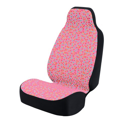 Coverking Universal Fit 50/50 Bucket Flower Fashion Print Seat Cover – Vivid Flowers (Flowers with Pink Background)