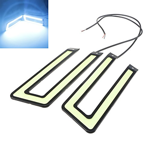 LED Lights 2pieces U Shape DRL Car Daytime Running Lights Fog Driving COB 12V DC Slim Black Case (Ice Blue)
