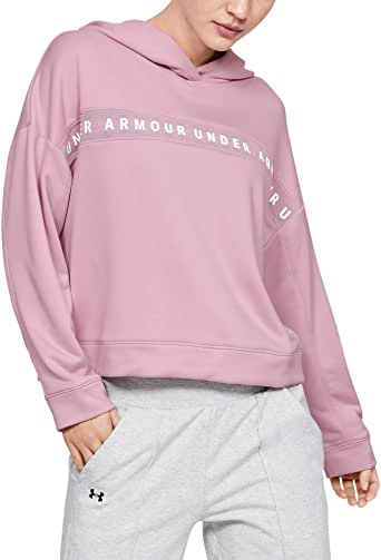 Under Armour Women's Tech Terry Hoodie, Pink (Pink Fog/White), Large
