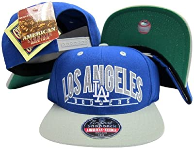 American Needle Los Angeles Dodgers Blue/Grey Two Tone Plastic Snapback Adjustable Snap Back Hat/Cap