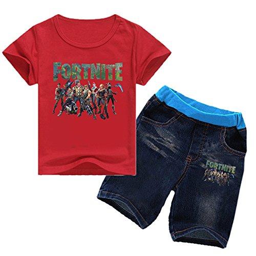 Gogofuture Unisex Shirt Icone Stampato E Fortnite T Ragazzi per Red2 Estive Maglietta di Gioco Sets Logo Bambini Pantaloncini RpnwRrxSfq
