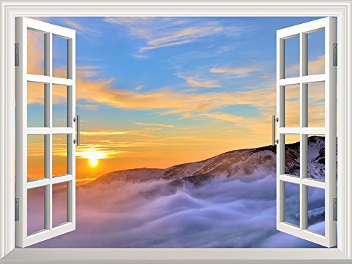 Removable Wall Sticker Wall Mural Majestic View of Sea of Clouds at Sunrise Creative Window View Wall Decor