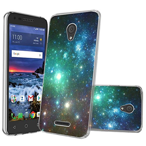 Clear MINITURTLE Case Compatible w/Alcatel Raven LTE/CameoX / Fiji/IdealXcite / Verso [Clear Case][Drop Protection] [Crystal Clear Flex Force Series] Flexible TPU Case - Blue Green Galaxy