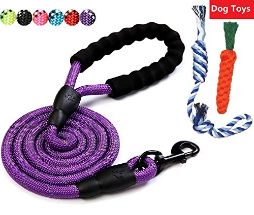Same Pattern Different Quality 5 FT Strong Dog Leash 2018 New With Comfortable Padded Handle For Medium and Large Dogs Heavy Duty Chew Bite Proof Nylon Rope Reflective Leash for Night Safety Purple