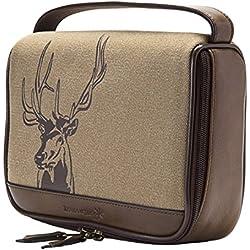 HOJ CO. Deer Zip Around Toiletry Bag - Canvas & Leather Men's Dopp Kit - Toiletry Organizer
