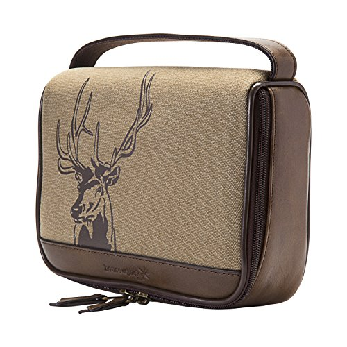 HOJ CO. Deer Zip Around Toiletry Bag - Canvas & Leather Men's Dopp Kit - Toiletry Organizer