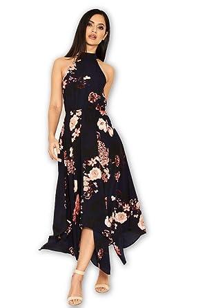 41f14f44 AX Paris Women's Floral Print Choker Midi Dress at Amazon Women's ...