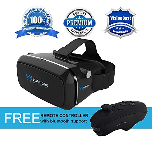 Virtual Reality Headset - 360° VR Goggles for iPhone 6 6 Plus 7 7 Plus Android & Smartphones 4 to 6 IN - Plays 3D Games in VR Helmet - Best VR Glasses Set w/ FREE Remote Controller By VisionCast