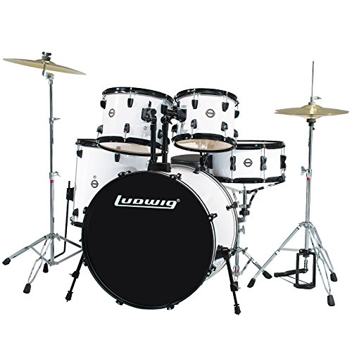 Ludwig-Accent-Drive-5-Pc-Drum-Set-LC1758-White-Finish-Includes-Hardware-Throne-Pedal-Cymbals-Sticks-Drum-Key