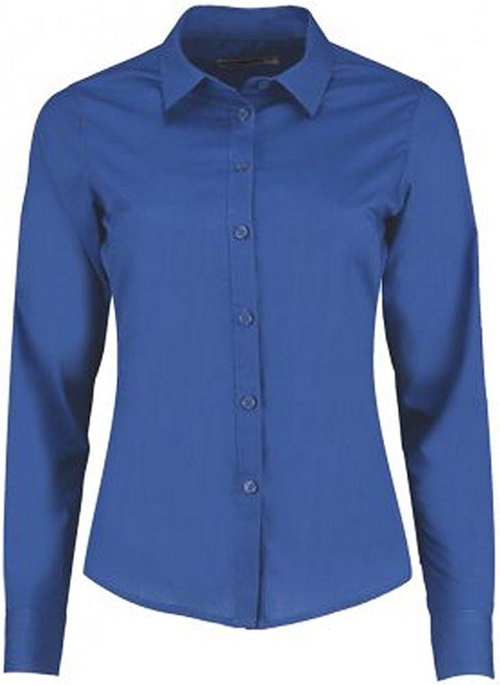 KUSTOM KIT Camisa Entallada de Popelín y Manga Larga Para Mujer (34 EU/Azul): Amazon.es: Ropa y accesorios