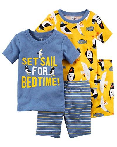 Carter's Boys' 4-Piece Short Sleeve Snug Fit Cotton Pajamas (Blue/Yellow Bedtime, 5T) ()