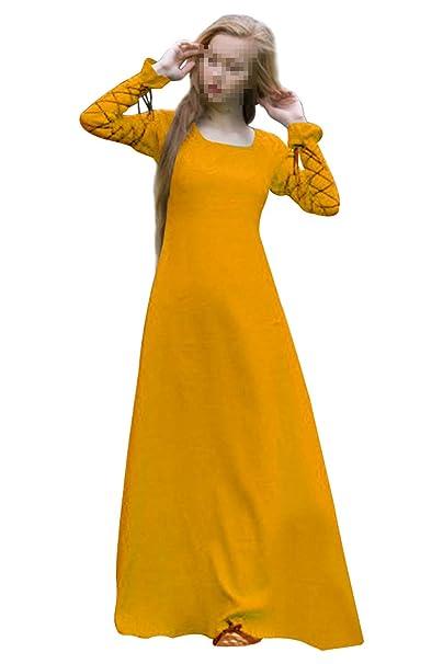 358e263b4f4 Vestido Maxi de Manga Larga con Cuello Redondo Medieval para Mujer  Renaissance Bandage Collect Cintura Traje Largo Amarillo, XXXL: Amazon.es:  Ropa y ...