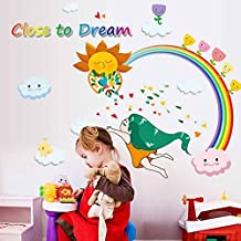 Rainbow Sun Angel Wall Sticker Decal Home Paper PVC Murals House Wallpaper Bedroom Kids Babys Living Room Art Picture Decoration