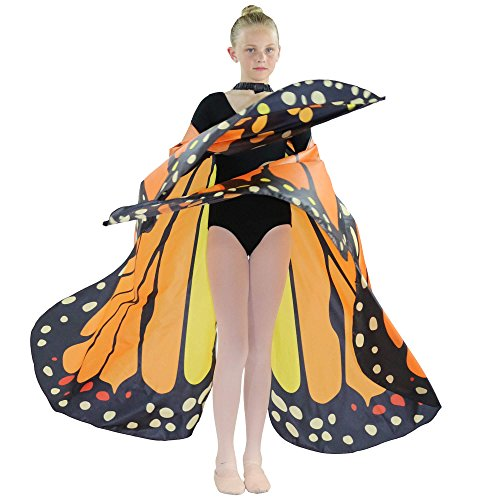 [Danzcue Girls Butterfly Belly Dance Angel Worship Angel Wings With Sticks] (Dance Costumes For Liturgical Dances)