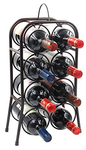PAG 8-Bottle Metal Wine Rack Free-Standing Countertop Wine Holder Shelf for Storage and Display, Retro Brown