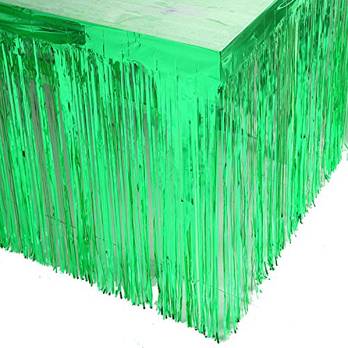 Blukey 9FT Metallic Foil Fringe Table Skirt Green, (about 9ft wide and 29inch tall)