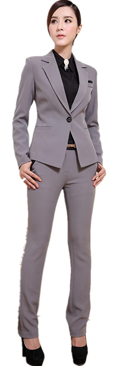 XinAndy Women's Suit Grey Jacket & Pant Set 1 button Long sleeve
