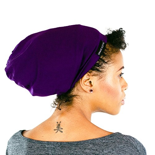 Grace Eleyae [Slap] Satin-Lined Sleep Cap, Women's Tam Hat Beanie - Purple Purple Satin Hat