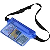 Waterproof Pouch Bag Case with Waist Strap for Beach, Swimming, Boating, Kayaking, Fishing, Hiking, Camping - Protect for iPhone, Cell Phone, Camera, Cash, MP3, Passport, From Water (BLUE)