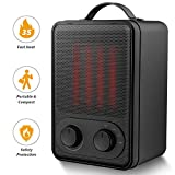 Portable Space Heater – 1500W Fast Heat Ceramic Space Heater for Office Small Room Desk, Electric Space Heater with Multi Thermostat, Overheat & Tip-Over Protection, Hot Cool Fan Heater for Indoor Use
