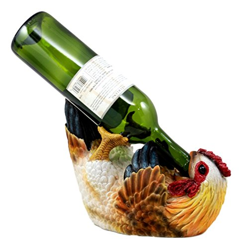 arm Drunken Hen Chicken Wine Holder Bottle Caddy Figurine 9.75