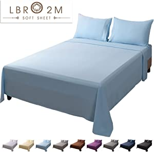 LBRO2M Bed Sheet Set King Size 16 Inches Deep Pocket 1800 Thread Count 100% Microfiber Sheet,Bedding Super Soft Hypoallergenic Breathable,Resistant Fade Wrinkle Cool Warm,4 Piece (Lake Blue)