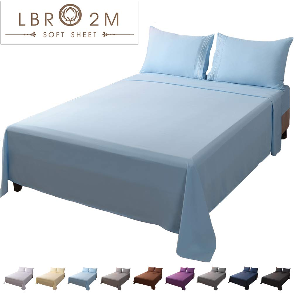 LBRO2M Bed Sheet Set Queen Size 16 Inches Deep Pocket 1800 Thread Count 100% Microfiber Sheet,Bedding Super Soft Hypoallergenic Breathable,Resistant Fade Wrinkle Cool Warm,4 Piece(Lake Blue)