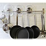 Premium Chefmate Stainless Steel Gourmet Kitchen 31.5 Inch Wall Mount Rail and 10 S Hooks Set Utensil Pot Pan Lid Rack Storage Organizer , Silver