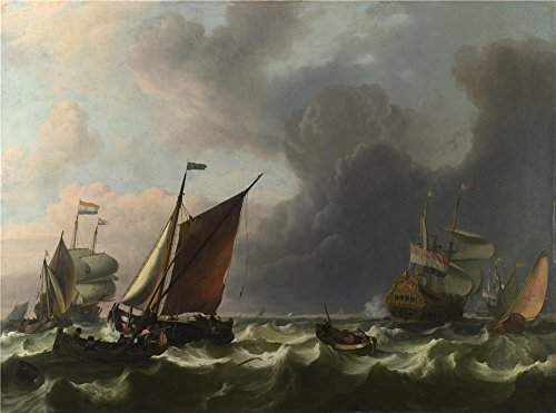 Oil Painting 'Ludolf Bakhuizen Dutch Men Of War Off Enkhuizen ' Printing On Perfect Effect Canvas , 8 X 11 Inch / 20 X 27 Cm ,the Best Bedroom Decoration - Nude Men Dutch