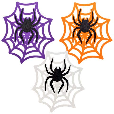 ML Warehouse Halloween Decoration & Craft Collection 2018 (Glittery Felt Spider Web Decorations, 14.75 In.) ()