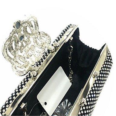 Las mujeres evento formal de satén de Nylon/Partido Bolso Bolsa de noche de bodas embrague en Más colores, negro Silver