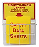 Accuform ZRS339 Right-to-Know Center, 0.063'' Thick Aluminum Board with (1) Coated Wire Basket, (1) 1-1/2'' Safety Data Sheets 3-Ring Binder Included, 20'' Length x 15'' Width, Red/Yellow on White