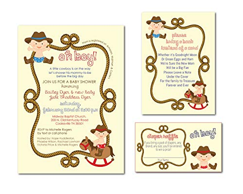 (Cowboy Baby Shower Invite with Bring a Book and Diaper Raffle Cards for New Mom Gift)