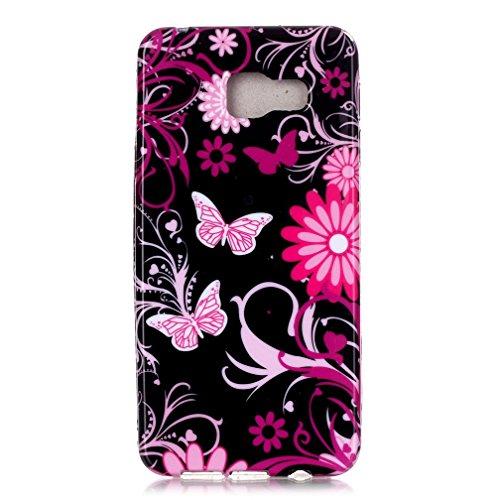 Funda de gel de silicona KATUMO® para móvil Samsung Galaxy A3 SM-A310F (2016), con cubierta de goma protectora posterior, de flores multicolores, compatible con Samsung Galaxy A3, color azul Mariposa