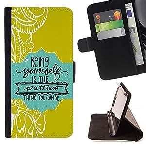 For Samsung Galaxy Note 4 IV Case , Citar Texto verde del bebé azul- la tarjeta de Crédito Slots PU Funda de cuero Monedero caso cubierta de piel