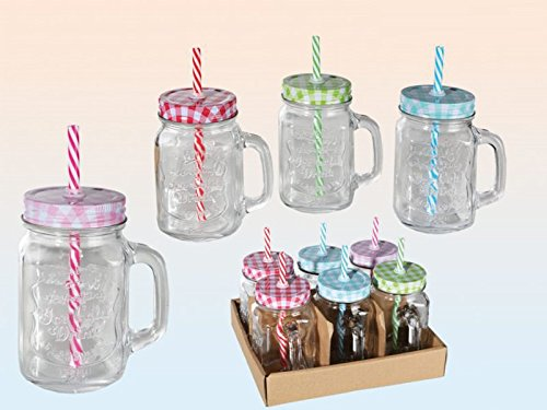 Drinking jar with handle and coloured lid with straw 6 pieces 500 ml tumbler jar look