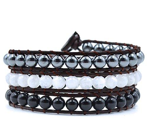 Crystals and Healing Stones Bracelet Moonstone Hematite Onyx Gemstone Beaded Chakra Yoga Jewelry (Handmade Beaded Gemstone Jewelry)