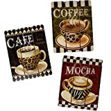 Contemporary Home Decor Coffee House Cup Mug Latte Java Mocha Wooden Wall Art Home Decor, Set of 3