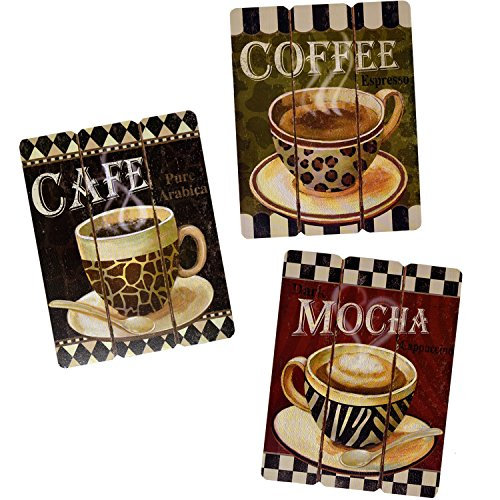 Coffee House Cup Mug Cafe Latte Java Mocha Wooden Hanging Wall Art Home Decor, Set of 3 Modern Paintings For Office Bedroom Kitchen Living and Dining Room Accessories (Room Decor Wall Breakfast)