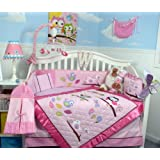 SoHo Owls Meadowland Baby Crib Nursery Bedding Set 13 pcs included Diaper Bag with Changing Pad & Bottle Case
