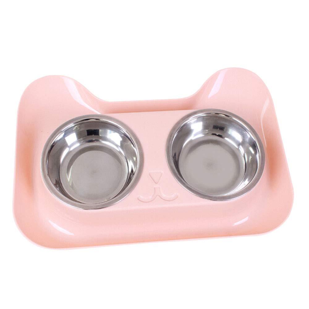 Pet Bowl,Double Dog Bowl Stainless Steel Dog Bowl No Leak Slip PP Station 22oz Feeder Bowl Pet Bowl Cat and Dog (color   Pink)