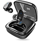 GUSGU True Wireless Stereo Headphones TWS Bluetooth In-Ear Earbuds with Charging Box Built-in Mic Headset Hi-FI Sound Wireless Earbuds for Running Sport (black)