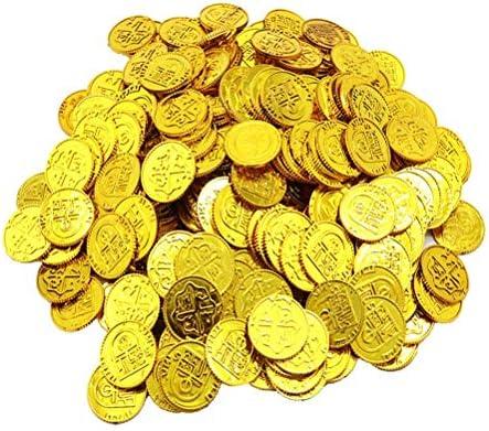 Toyvian Monedas de Oro de Piratas Juego de Juguetes de Monedas de plástico Accesorios para Chips Juego de Juego para niños - 100pcs (Dorado): Amazon.es: Juguetes y juegos